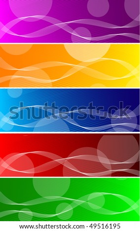 Vector bright banners with circles; clip-art