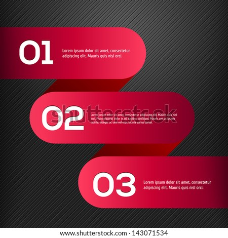 Vector bright 3D red banners set - stock vector
