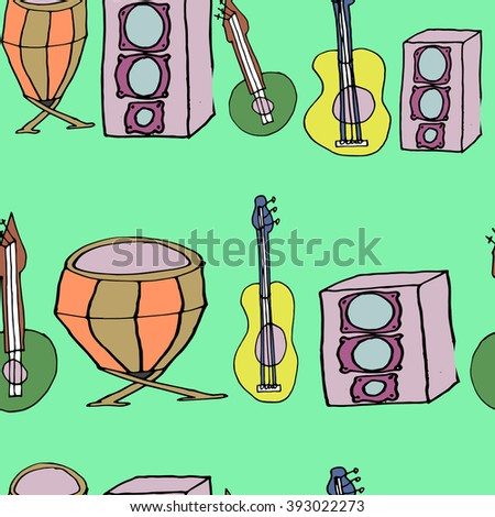 Vector bright doodles seamless texture with hand-drawn musical instruments. Background template for web design, wallpaper, covers, booklets.