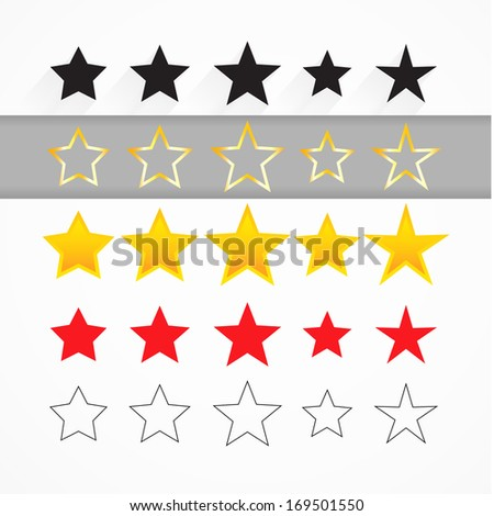 Vector bright golden star with flat shadow. Vector illustration background.