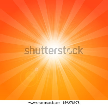 Vector bright orange summer background with sun rays - stock vector