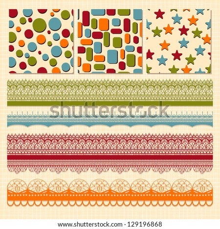 Vector bright seamless paterns and seamless lacy ribbons, fully editable eps 10 file, seamless patterns in swatch menu - stock vector