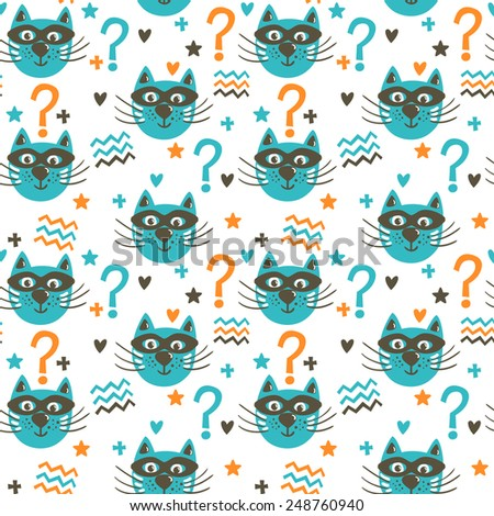 Vector bright seamless pattern with funny cats in masks, hearts, stars, question mark. Cute cartoon characters. Hand drawing childish background.  - stock vector