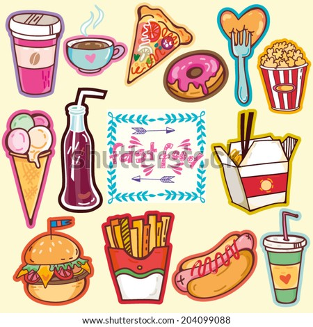 Vector bright set of fast food. - stock vector