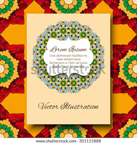 Vector bright template for design invitations, wedding and greeting cards. Hand drawn elements of vintage patterns.  - stock vector