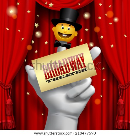Vector Broadway poster with a human hand with a yellow smiled puppet head in a black top hat on the red theater curtain - stock vector