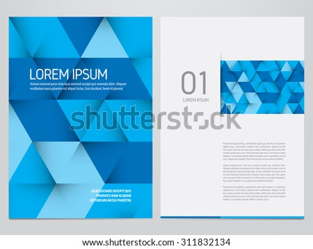 Vector brochure, annual report, flyer, magazine template. Modern blue triangles design. - stock vector