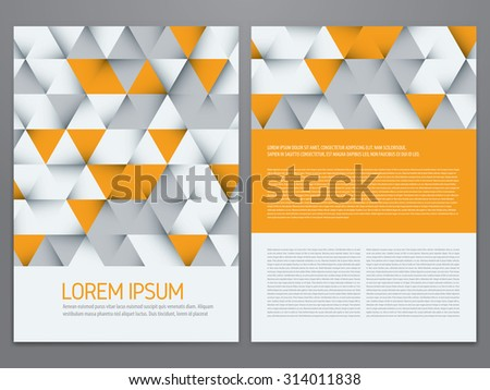Vector brochure, annual report, flyer, magazine template. Modern grey and yellow triangles design. - stock vector