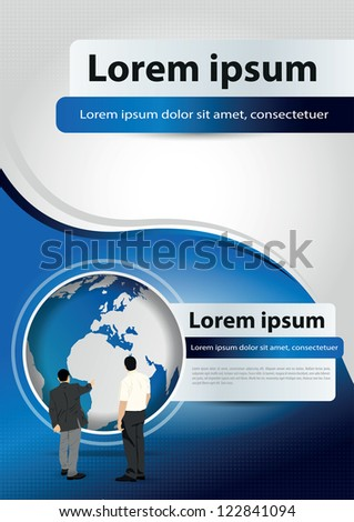 Vector brochure blue background concept for company with managers and world - stock vector