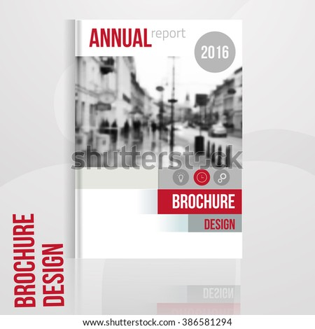 Vector brochure cover template with blured city landscape. Business brochure cover design, flyer brochure cover, professional corporate brochure  cover. - stock vector