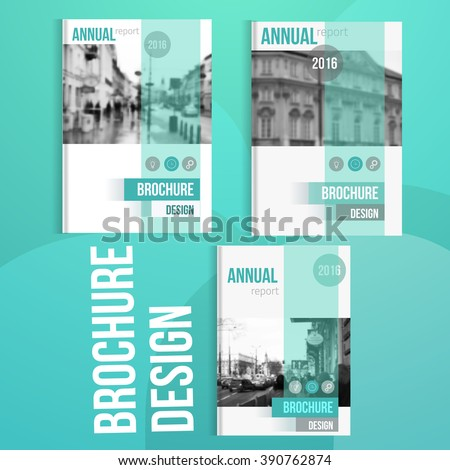 Vector brochure cover templates with blured city landscape. Business brochure cover design, flyer brochure cover, professional corporate brochure  cover. - stock vector