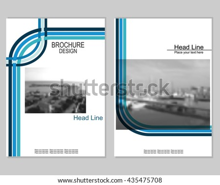 Vector brochure cover templates with blurred seaport.  EPS 10. Mesh background.