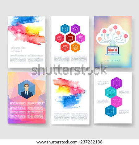 Vector brochure design templates collection. Applications and Infographic Concept. Flyer, Brochure Design Templates set. Modern flat design icons for mobile or smartphone.  - stock vector