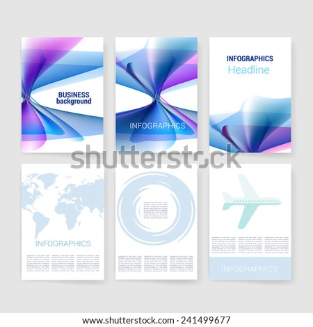 Vector brochure design templates collection. Applications and Infographic Concept. Flyer, Brochure Design Templates set. Modern flat design icons for mobile or smartphone.