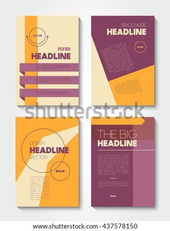 Vector brochure flat design templates, abstract book and flyer cover - stock vector