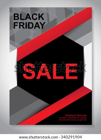 Vector Brochure Flyer design Layout template, size A4, Black Friday sales - stock vector