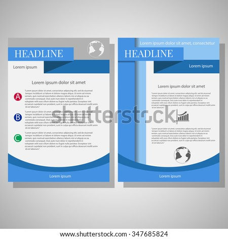 Vector Brochure Flyer design Layout template, size A4, Front page and back pages eps 10 - stock vector