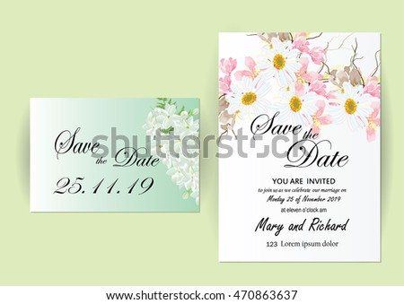 Vector Brochure Flyer design Layout template, wedding  invitation card template flowers concept