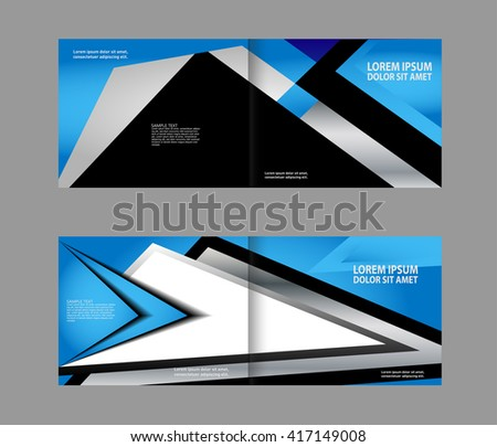 Vector brochure, flyer, magazine cover & poster template. Two ( 2 ) Pages. blue.  - stock vector