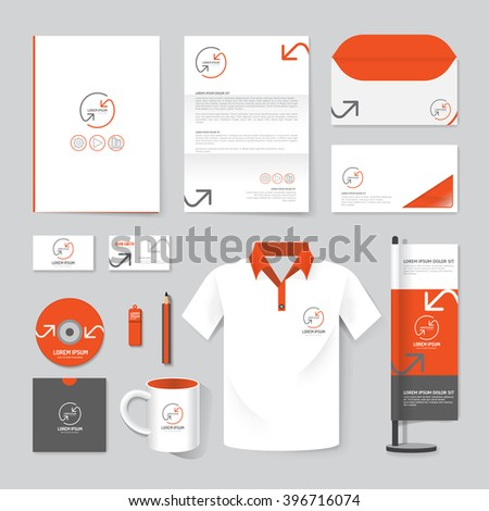 Vector brochure, flyer, magazine, folder, t-shirt,cover booklet poster mockup design template/ layout stationery annual report A4 size/ set of corporate identity template. - stock vector