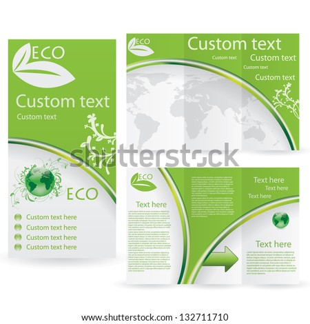 Vector Brochure Layout Design Template green environmental - stock vector