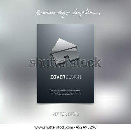 Vector brochure or booklet cover design template. Business concept. Flyer idea. Poster with 3d house icon - stock vector