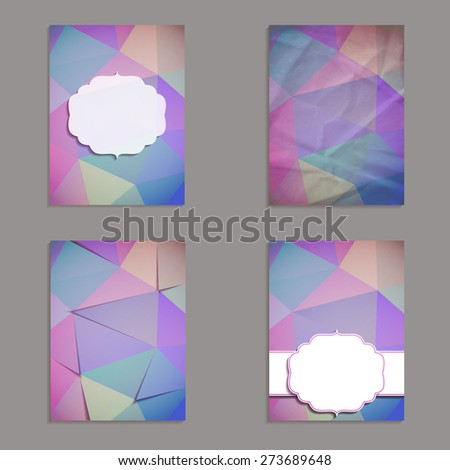 Vector brochure set with  triangle pattern. Frames and backgrounds. - stock vector