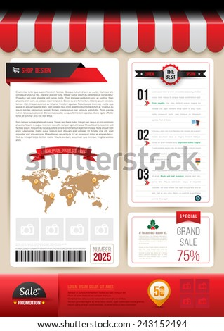 Vector brochure template design shop style. Vector illustration. Can use for business data report, presentation, web page, brochure, leaflet, flyer, poster and advertising. - stock vector