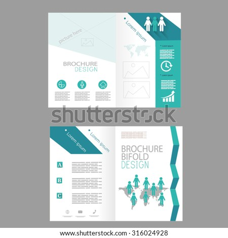 Vector brochure template design with infographic elements - stock vector