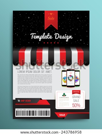 Vector brochure template design with shop and smartphone. Vector illustration. - stock vector