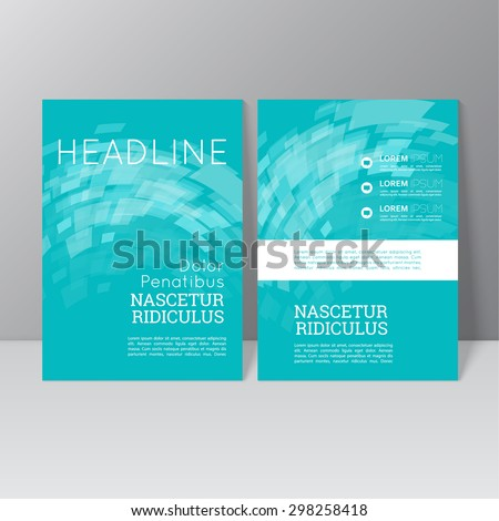 Vector brochure template design with the wave, swirl and different elements. Flyer or booklet Layout. - stock vector