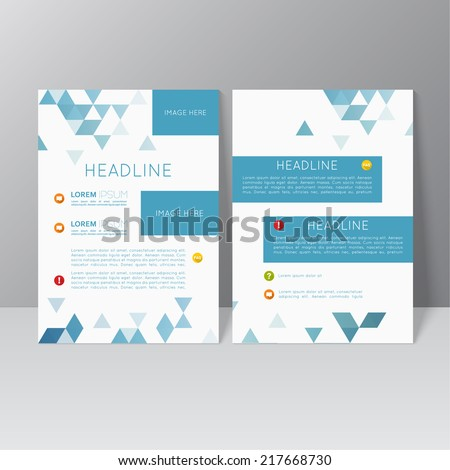 Vector brochure template design with triangles, icons and different elements. Flyer or booklet Layout. catalog - stock vector