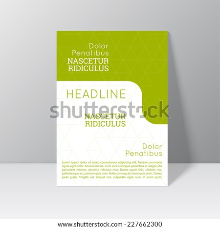 Vector brochure template design with triangles, icons and different elements. Flyer or booklet Layout. - stock vector