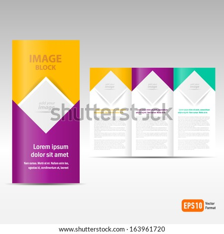 Vector Brochure Tri-fold Layout Design Template square, block for images - stock vector