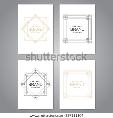 Vector brochure with decorative frame, flyer or book design with simple ornamental border, poster, modern layout template  - stock vector
