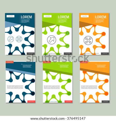 Vector brochures with abstract figures. Design pattern.