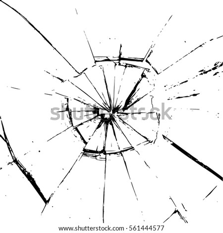 Glass Single Crack Bullet Hole Glass Stoc...