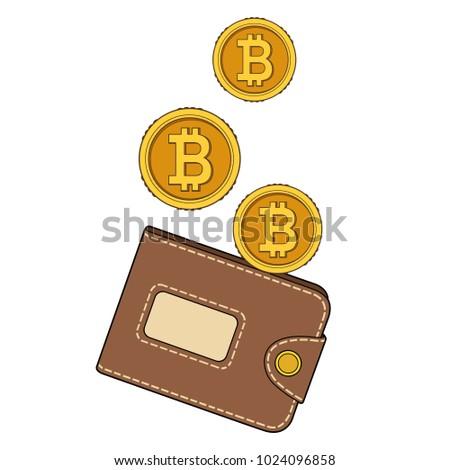 Vector brown bitcoin wallet coins stock vector 1036298467 vector brown bitcoin wallet with coins isolated on blue background ccuart Choice Image