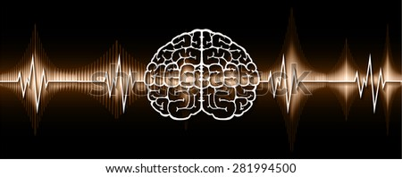 vector brown brain processes technology, creative idea concept. wave. ecg, ekg, electrocardiogram. - stock vector