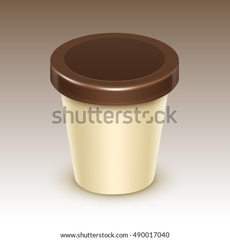 Vector Brown Cream Blank Food Plastic Tub Bucket Container For Vanilla Chocolate Dessert, Yogurt, Ice Cream with Label for Package Design Mock Up Close up Isolated on Background
