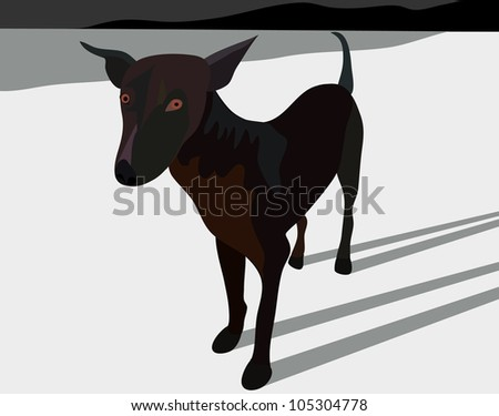 Vector - Brown dog on the white beach.Concept:I will be watching you at all times. - stock vector