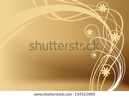 vector brown floral background - stock vector