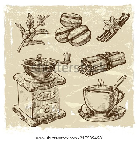vector brown hand drawn picture of coffee theme - stock vector