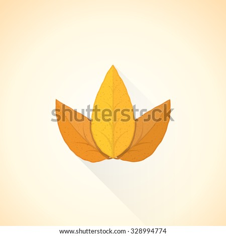 vector brown orange colored flat design textured dry tobacco leafs isolated illustration light background long shadows - stock vector