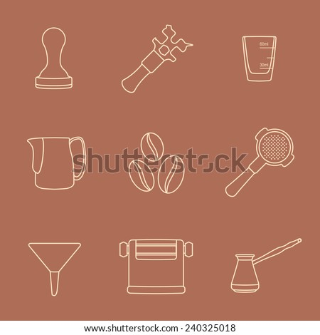 vector brown outline coffee barista equipment icons set tools espresso tamper, coffee wrench, measuring glass, pitcher, coffee beans, filter holder, funnel, knockbox, turk coffee pot  - stock vector