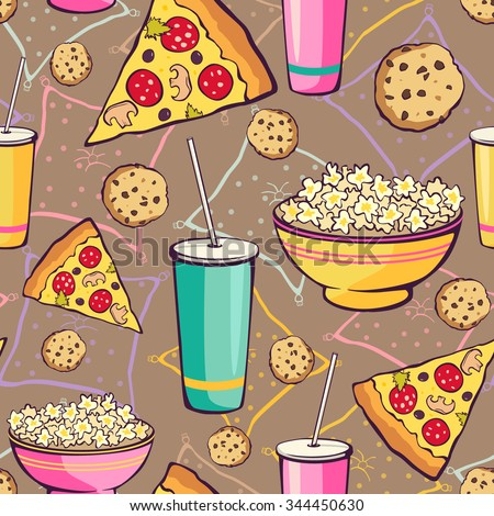 Vector Brown Slumber Party Food Seamless Pattern. Pizza. Drink. Cookie. Popcorn. Snack. - stock vector