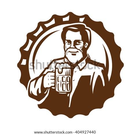 vector brown symbol of man with beer - stock vector