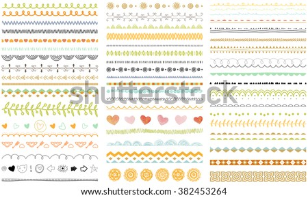 Vector brush lines and borders set. Hand drawn strokes collection. Seasonal ornaments. Doodle patterns. Decorative design elements. - stock vector