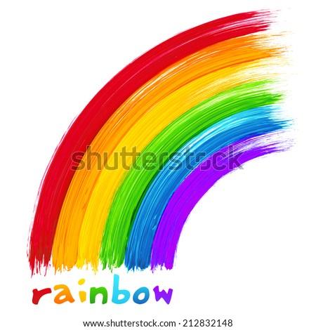 Vector brush painted rainbow - stock vector