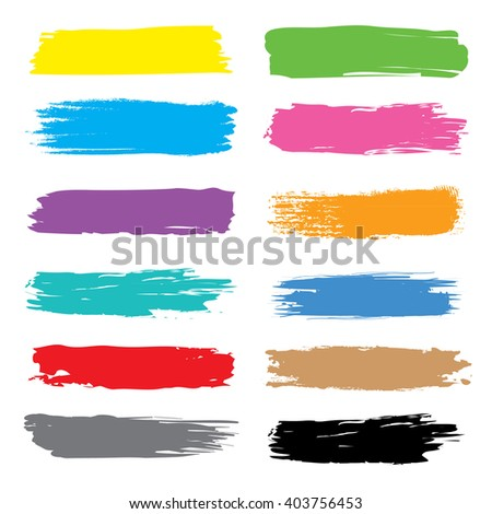 Vector Brush stroke Colorful vector hand drawn with ink